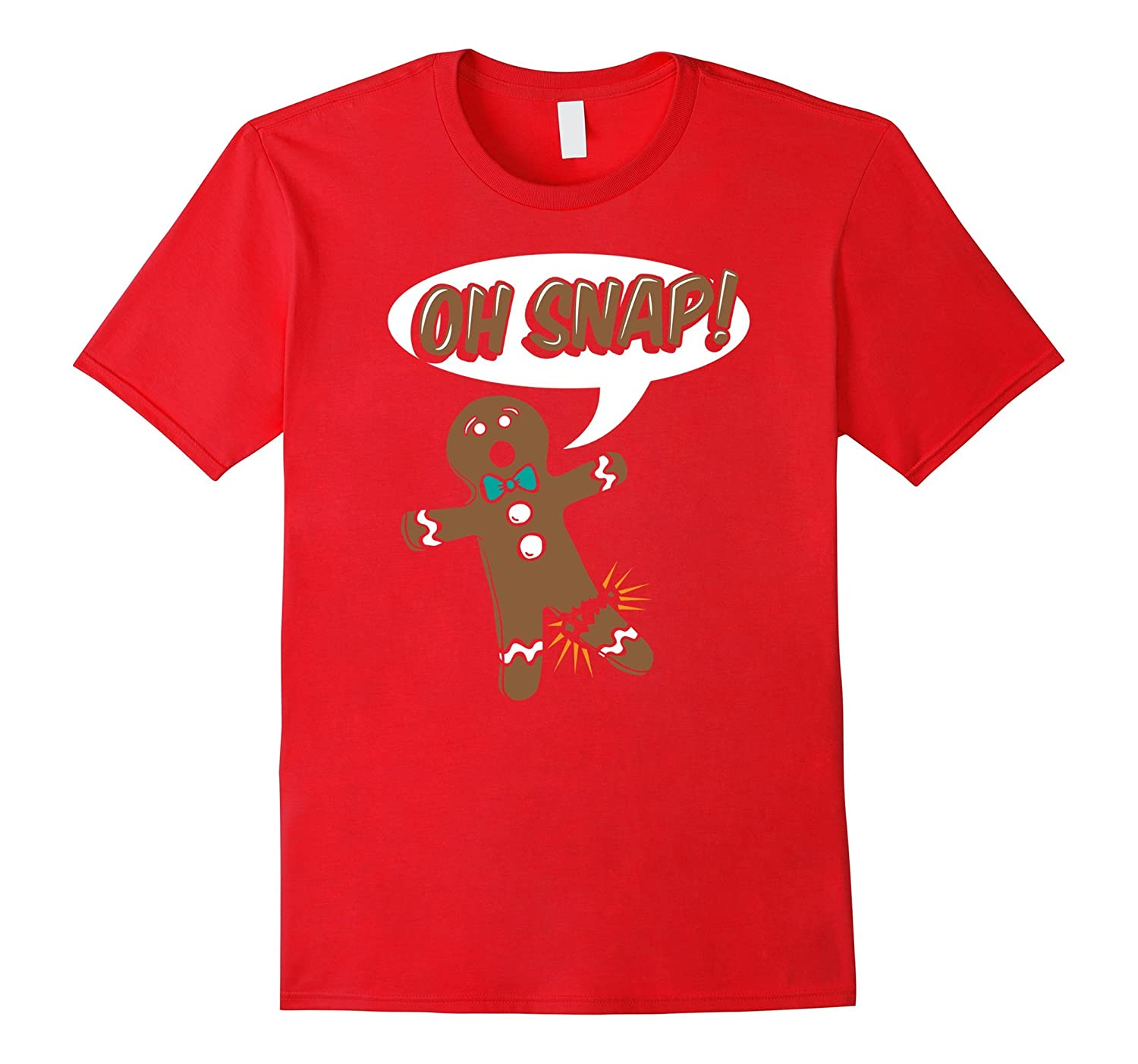 Gingerbread Man Tees: Oh Snap Funny Christmas Cookie T-Shirt-azvn