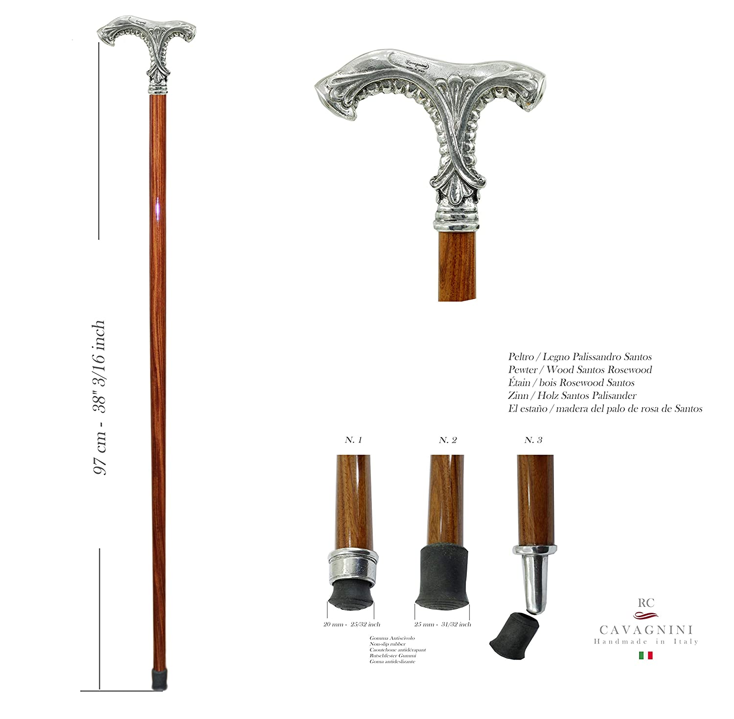 woman Cavagnini metal knob handmade in Italy Luxury rosewood walking stick elegant for man for ceremony