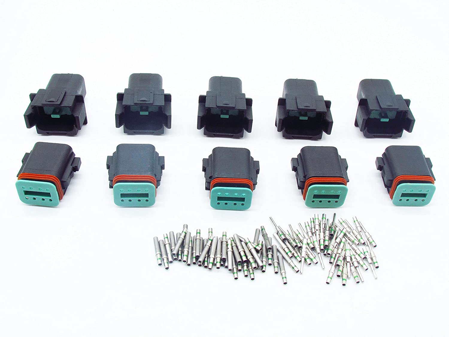 CNKF 5 Sets DT 8 Pin black male//female auto Waterproof Electrical Wire Connector Plug DT06-8S//DT04-8P with Barrel Style 14 AWG Terminals