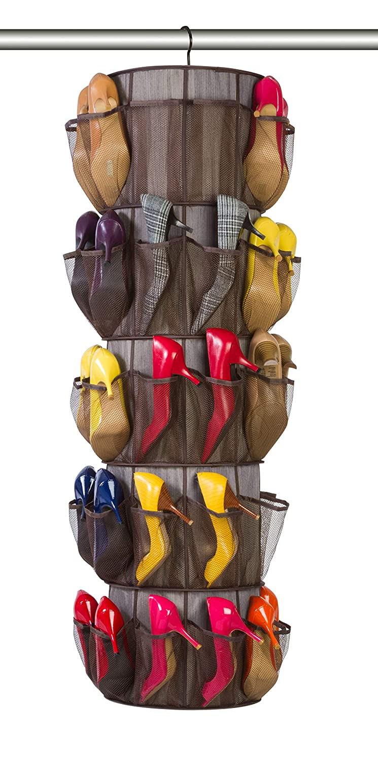 5204374 360 Degree Swivel for Clothing VentilAir Mesh Fabric Smart Design 5-Tier Smart Carousel Organizer w// 40 Pockets /& Steel Hook Home Organization 13 x 51.8 Inch Item Milano Shoes Misc