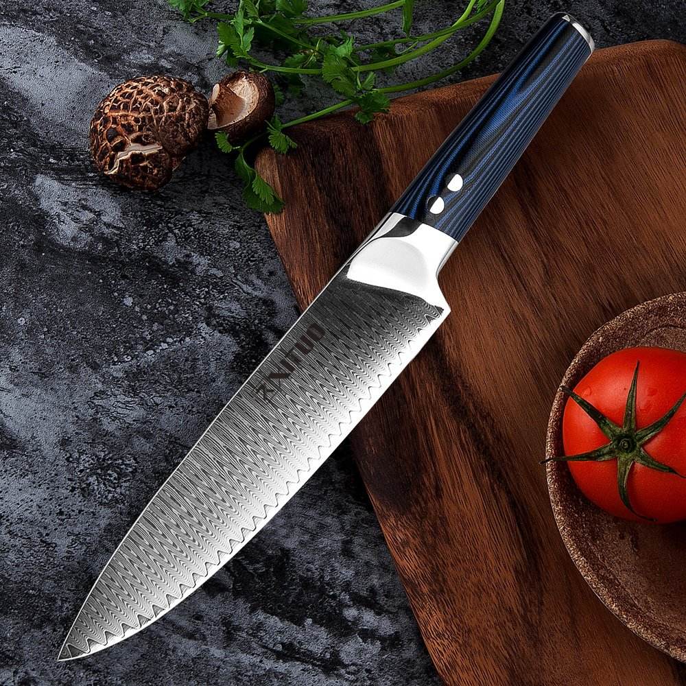 XITUO 8-inch Chef Knife Japanese VG 10 High Carbon Damascus Stainless Steel Kitchen Knife with Ergonomic Micarta Handle and Razor Sharp Blade For Dealing Meat, Fruits and Vegetables by XITUO (Image #5)