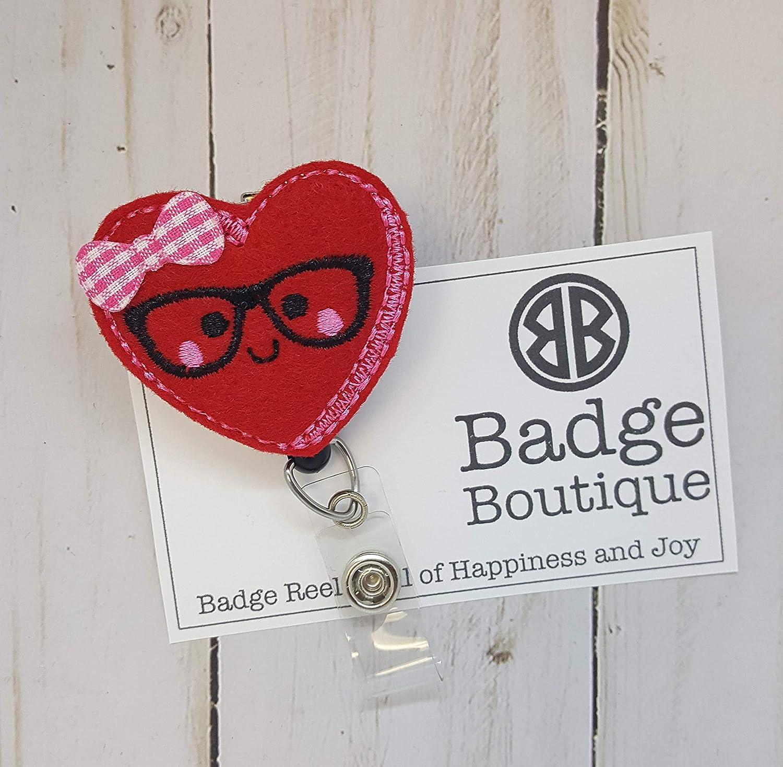 Amazon com: Valentine's Day Badge Holder - Heart Badge