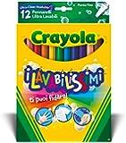 Crayola Lavabilissimi 58-8331 12 Pennarelli Ultra Lavabili, Punta Fine, Colori Assortiti, per Scuola e Tempo Libero