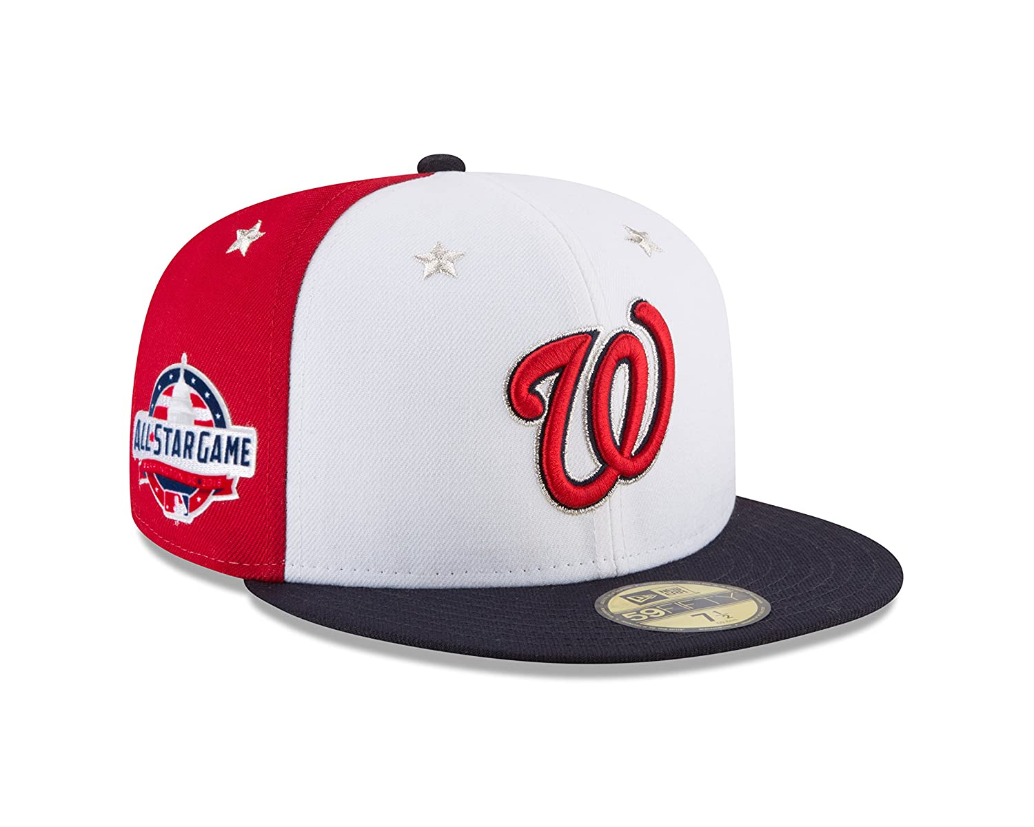 official photos c01a2 9a16b Amazon.com   New Era Washington Nationals 2018 MLB All-Star Game On-Field  59FIFTY Fitted Hat - White Navy   Sports   Outdoors