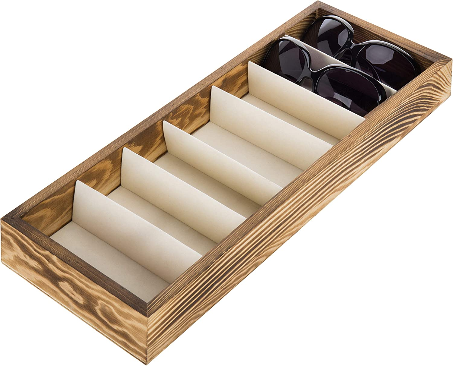 Modern Brown Wood 7 Compartment Eyewear Storage Organizer Box Open Top Sunglasses Display Case