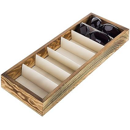 Moderna caja organizadora de madera marrón con 7 compartimentos para guardar gafas de sol.