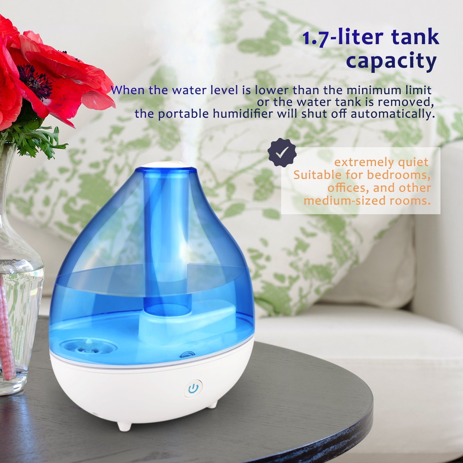 DONGSHEN Ultrasonic Cool Mist Humidifier 1.7L Capacity Diffuser Humidifiers for Bedroom Portable Personal Humidifier about 10-12 Hours, Automatically Shut-off (White) by DONGSHEN