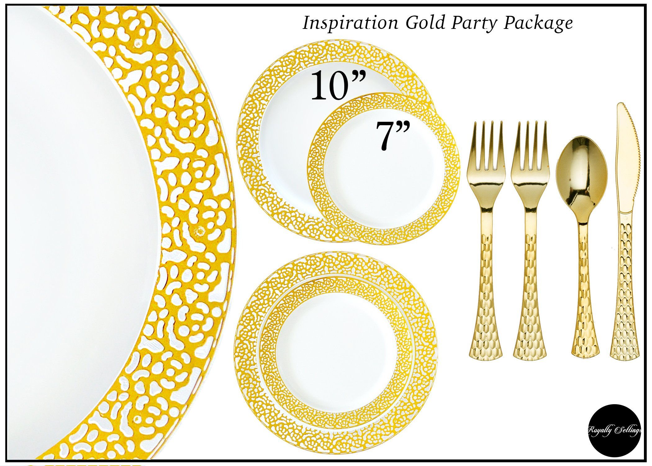 Royalty Settings Gold Inspiration Collection Plastic Plates and Cutlery Party Package for 120 Persons, Includes 120 Dinner Plates, 120 Salad Plates, 240 Forks, 120 Knives, 120 Spoons