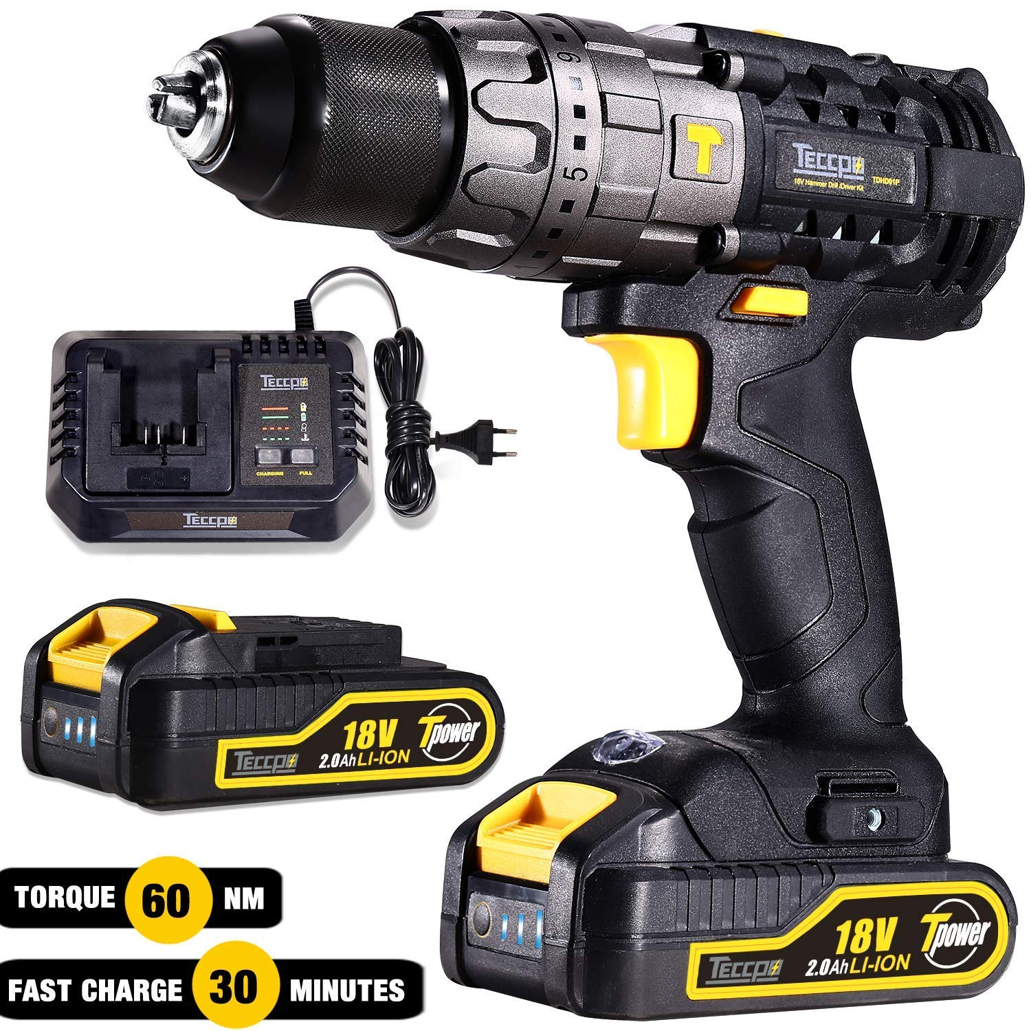 Impact Driver, TECCPO 220Nm Brushless Impact Driver 18V, 2 Batteries 2.0Ah, 30min Fast Charger, 6.35mm Keyless Chuck, Built-in LED Lamp, 0-2900rpm - TDID02P
