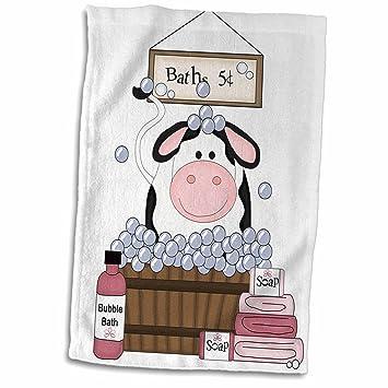 3dRose - Toalla de baño con diseño de Vaca en Color Blanco y Negro, 38,1 x 55,8 cm: Amazon.es: Hogar