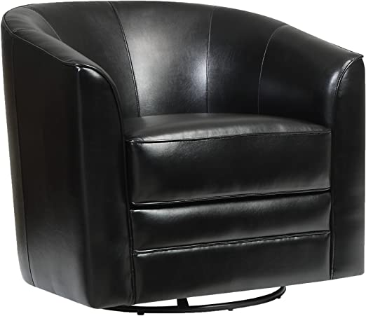Amazon Com Emerald Home Milo Black Accent Chair With Faux Leather