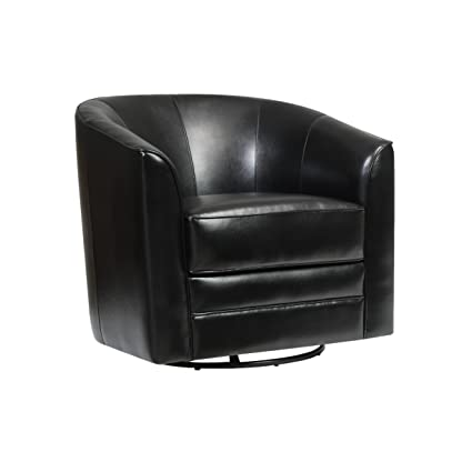 Emerald Home Milo Black Accent Chair With Faux Leather Upholstery, Welt  Trim, And Curved