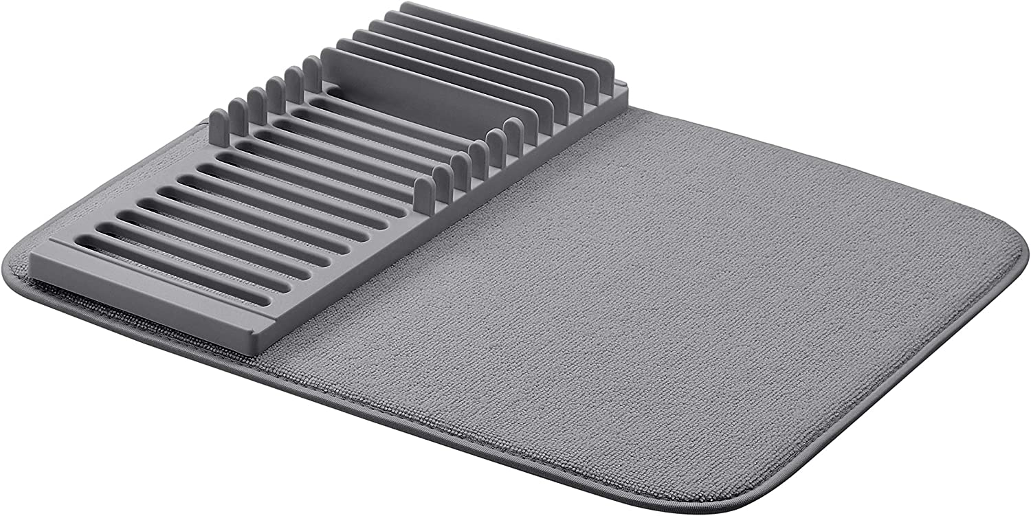 AmazonBasics Plastic Drying Rack with Mat, Charcoal
