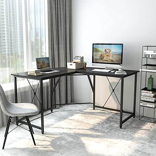 Smile Back L-Shaped Desk Table Office Desk Corner Computer Desk 55 L Shaped Gaming Work Study Writing Desk