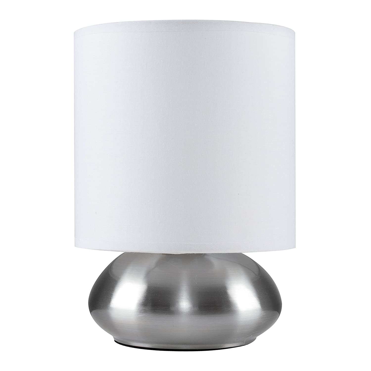 Chrome Touch Table Lamp with White Shade MiniSun
