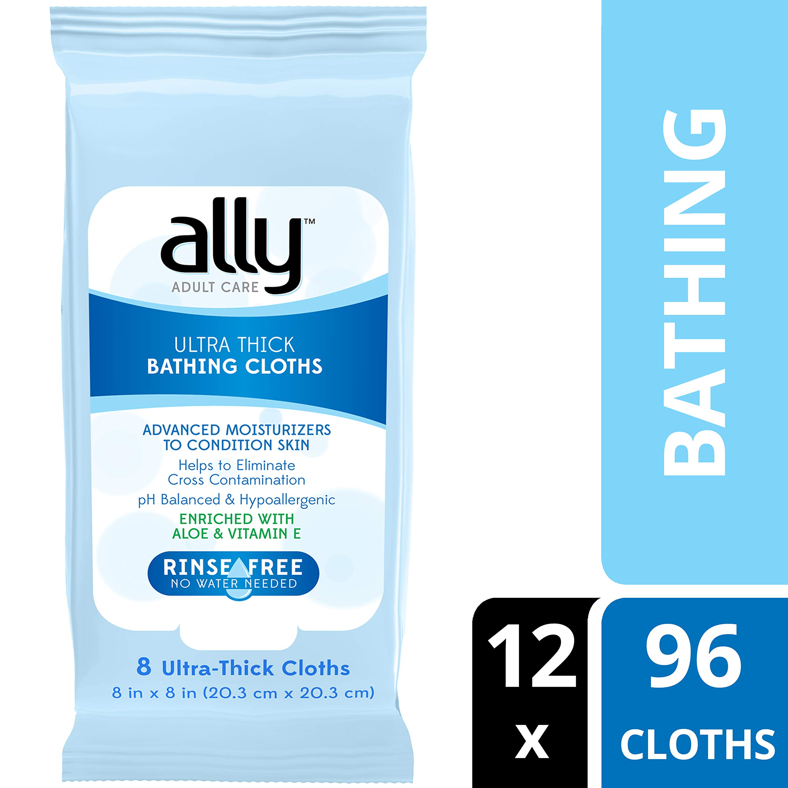 Ally Rinse-Free Ultra-Thick Adult Bathing Cloths, Microwaveable and Hypoallergenic, 96 Count (12 Packs of 8 Wipes) by Ally