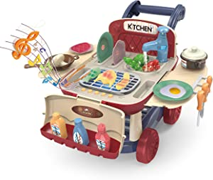 JOYIN Kitchen Pretend Play Toy Shopping Cart Playset BBQ Barbecue Kitchen Toy with Light and Music, Color Changing Play Food, Play Sink and Play Cookware Play Kitchen Accessories