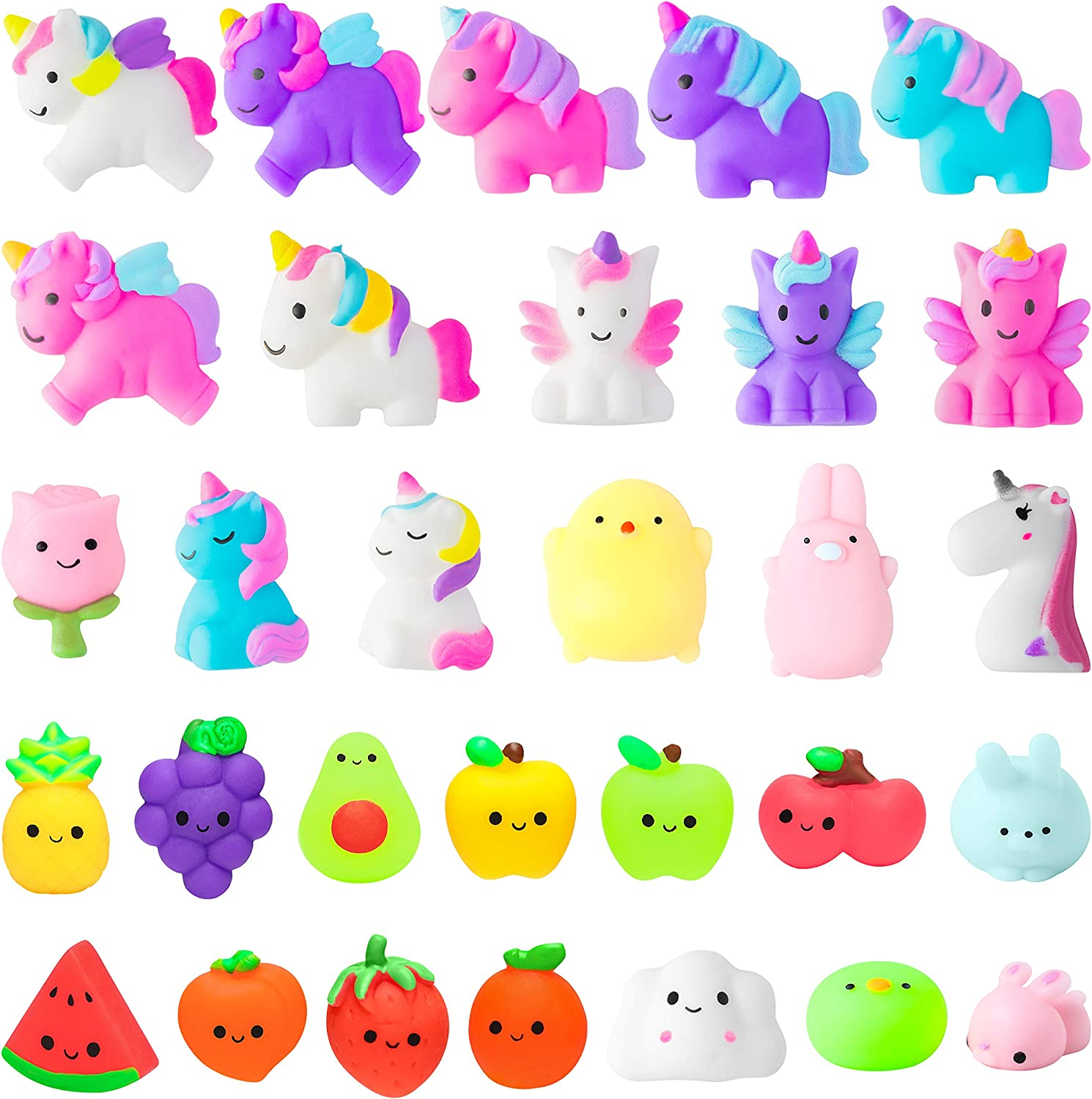 WATINC 30Pcs Fidget Toys Mochi Squeeze Toys for Boy & Girls Birthday Gift, Unicorn Fruit Cat Animals Mochi Squeeze Stress Relief Party Favor for Kids, Goodie Bags Egg Fillers for Kids,Classroom Prize