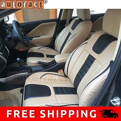 Autofact Af07 Pu Leather Car Seat Covers Honda Amaze Beige Black