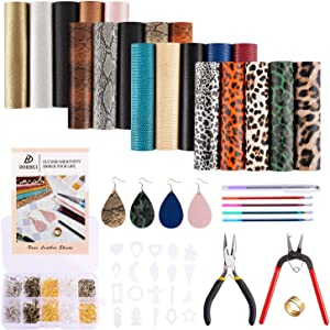 Dorhui 4 Style 20 Pieces Faux Leather Sheets with Instructions, Include Earring Cut Molds, Punch, Pliers and Earrings Making Tools Kit for Earring Making Crafts