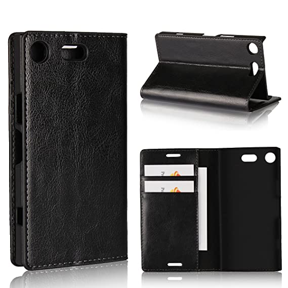 official photos 1a483 f29a0 Sony Xperia XZ1 Compact Wallet Case, Jaorty Genuine Leather Folio Flip Case  Cover Book Design with Kickstand Feature with Card Slots/Cash Compartment  ...