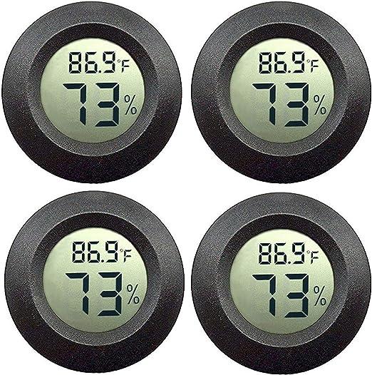 4PACK LCD Round Digital Temperature Meter Hygrometer Thermometer Humidity Mini