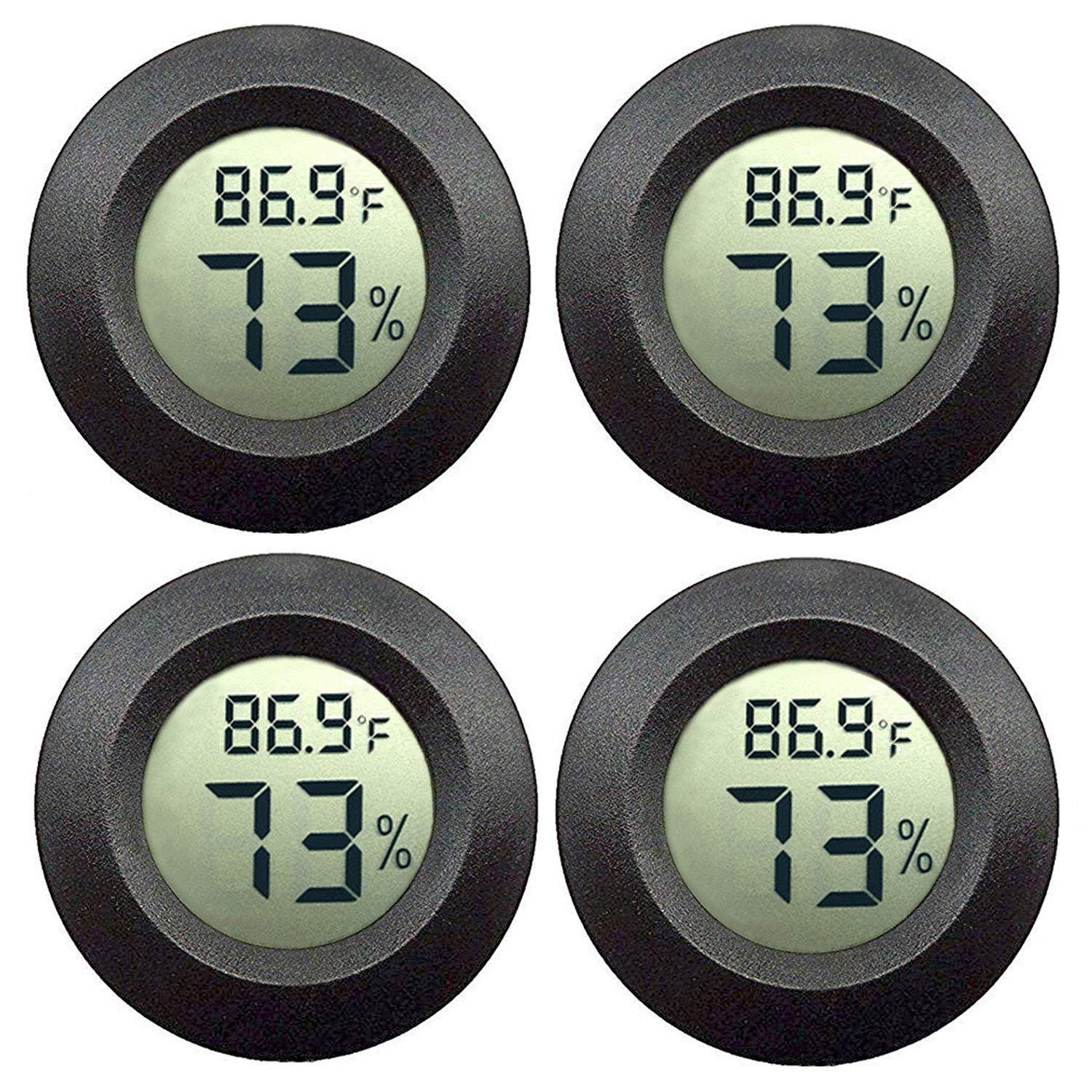 JEDEW 4-Pack Mini Hygrometer Thermometer Digital LCD Monitor Indoor Outdoor Humidity Meter Gauge for Humidifiers Dehumidifiers Greenhouse Basement Babyroom Fahrenheit or Celsius (Black-4 Pack) by JEDEW