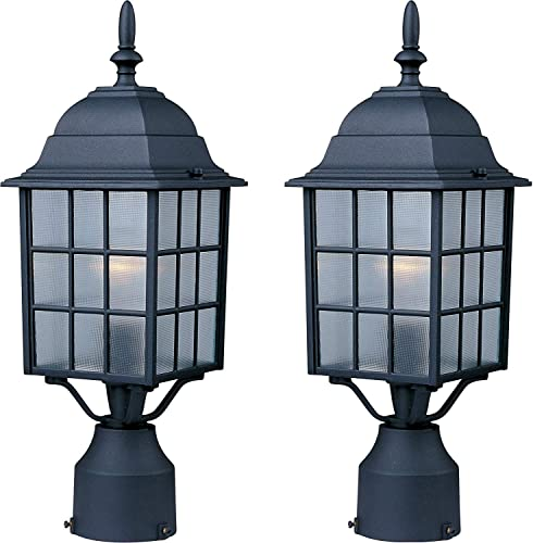 Maxim 1052BK North Church 1-Light Outdoor Pole Post Lantern, Black Finish, Clear Glass, Black -Pack of 2