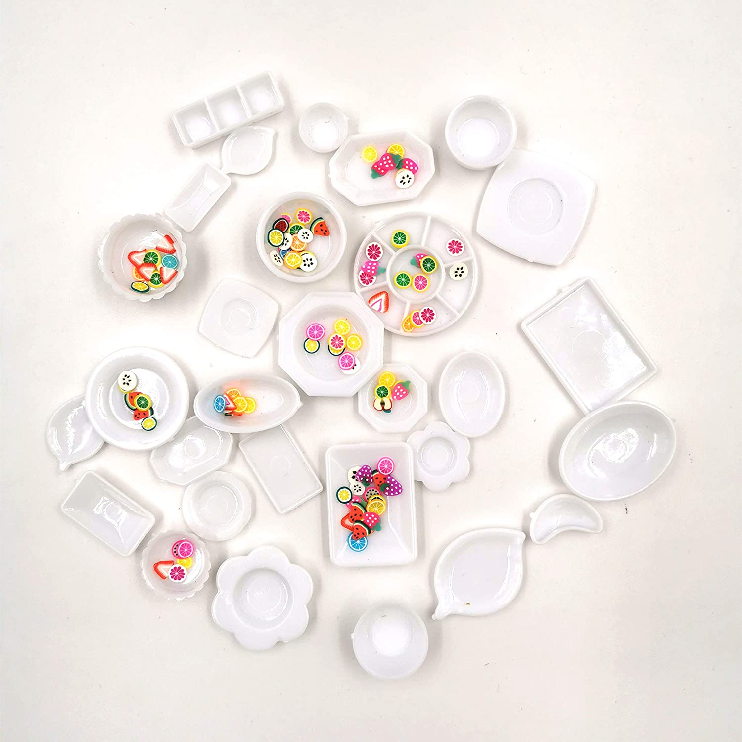 Taponukea Dollhouse Furniture and Accessories 30 Pcs Plastic Cutlery Plate Dishes Set with Miniature Fruits 1 12 Scale