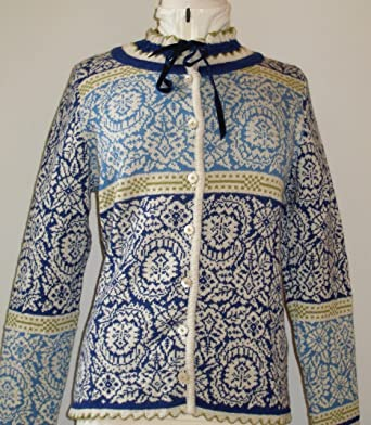 dfc3cb31 Oleana of Norway - 81FQ - Alpaca Cardigan Royal Blue/Off White- Medium:  Amazon.co.uk: Clothing