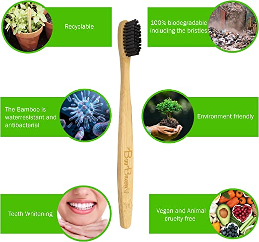 Bamboo Toothbrush|Charcoal Activated Soft/Med Bristles|Natural 100 ...