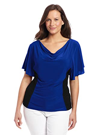 af38df0042cc Star Vixen Women's Plus-Size Flutter Sleeve Colorblock Top, Cobalt/Black,  ...