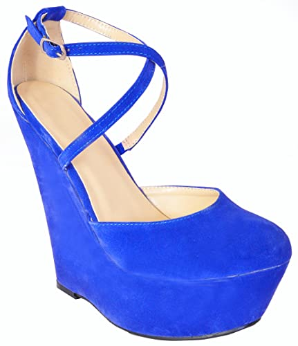 71a865d5f427 Ladies Womens Cobalt Bright Electric Blue Faux Suede Summer Wedges Cross  Straps Strappy Platforms High Heels