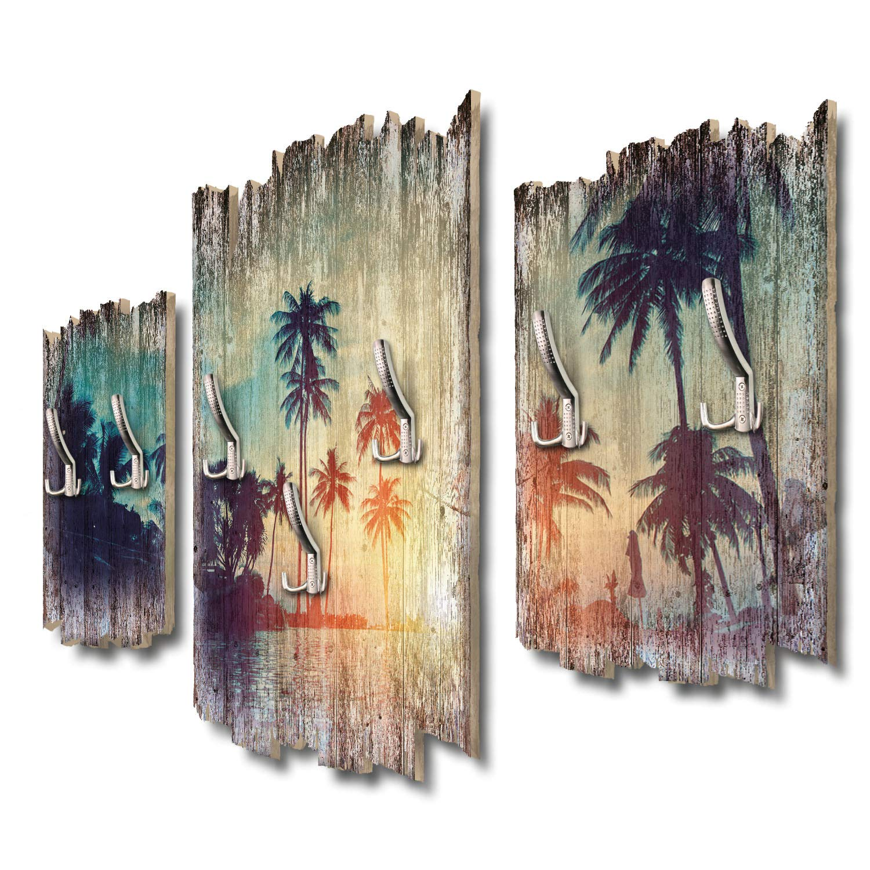 Kreative Feder Inselparadies Designer Wandgarderobe Flurgarderobe Wandpaneele 95 x 60 cm aus MDF DTGH066