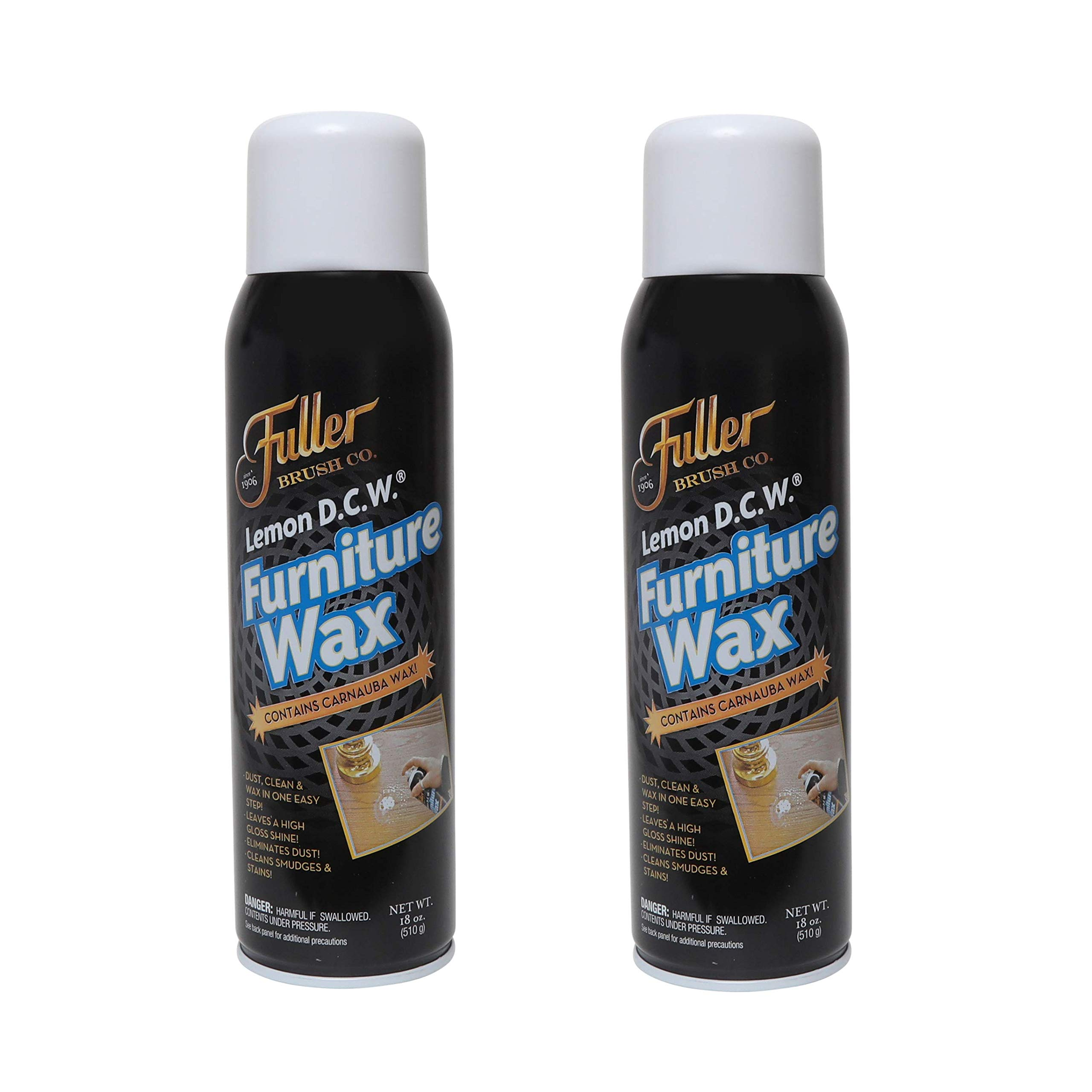 Fuller Brush Lemon D.C.W. Furniture Wax - Dust, Clean & Wax in One Spray - 18 oz. - 2 Pack