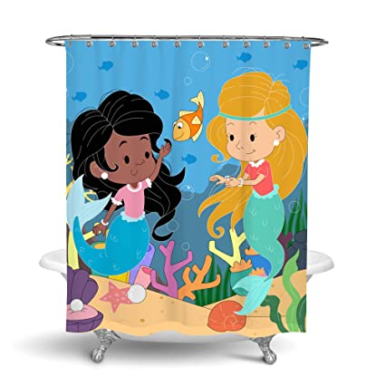 Mermaid Shower Curtain For Kids Bathroom Decor With Little Cartoon Girls In Pink And Blue