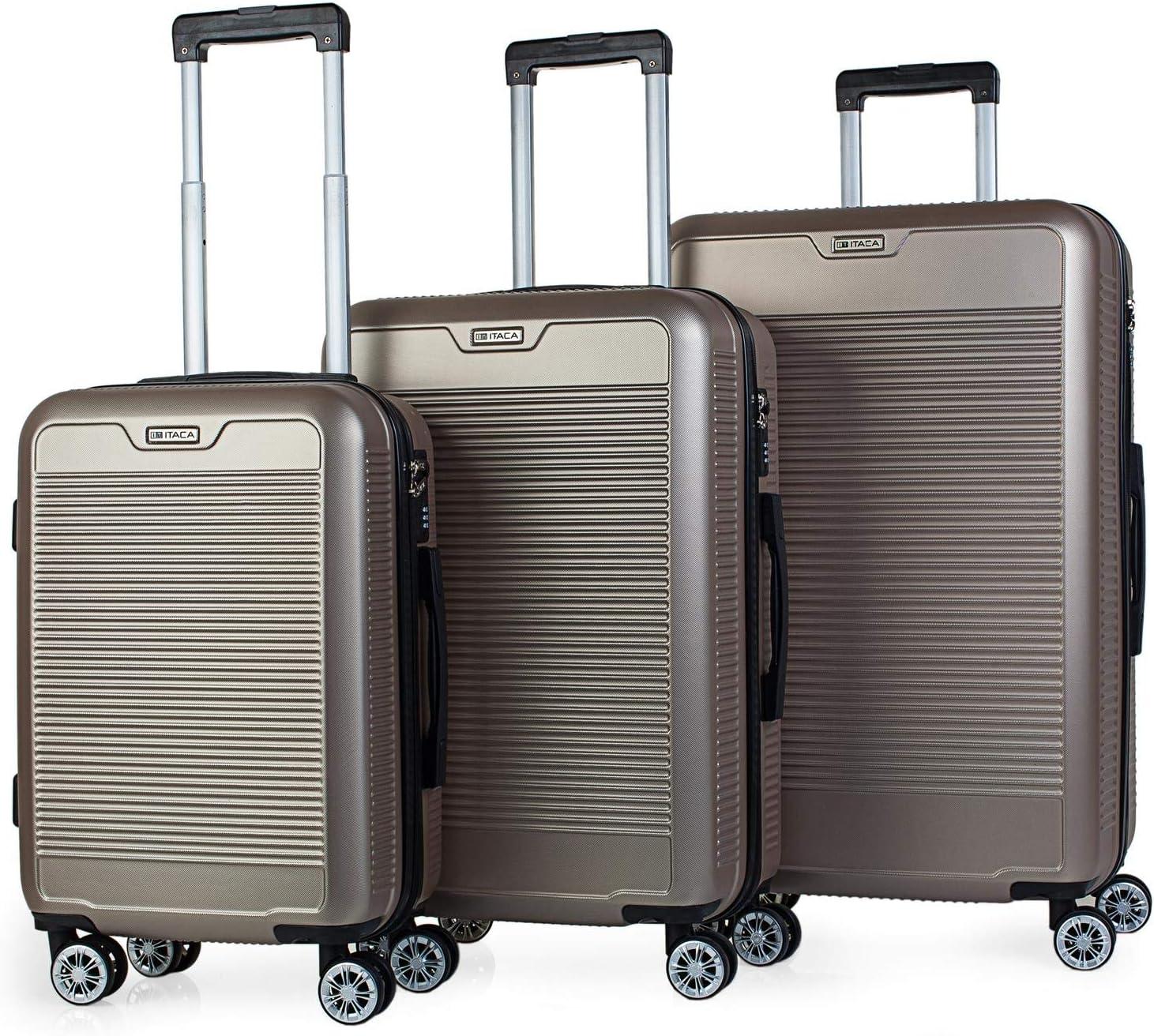 ITACA - Juego Maletas de Viaje Rígidas 4 Ruedas Trolley Set 55/67/76 cm ABS. Duras Cómodas Resistentes y Ligeras. Candado. Pequeña Cabina Ryanair, Mediana y Grande. T72000, Color Dorado