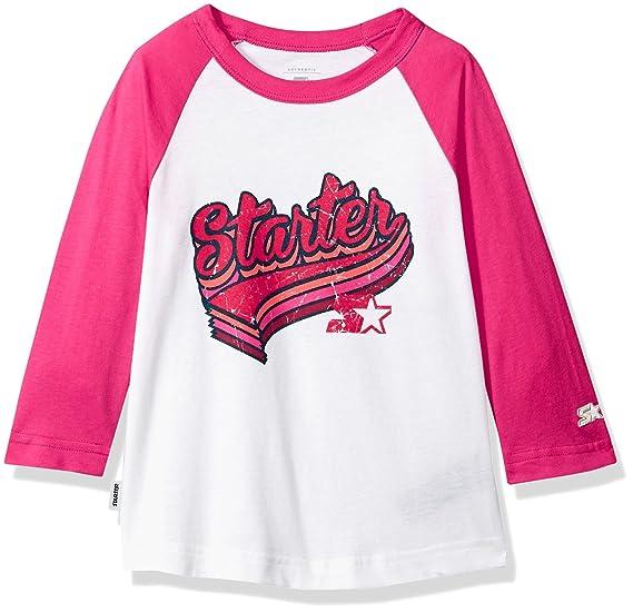 7bdd7576f Starter Girls' Distressed Logo Baseball T-Shirt, Amazon Exclusive