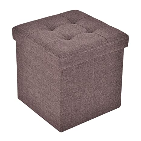 Astonishing Giantex Folding Storage Cube Ottoman Seat Stool Box Footrest Furniture Decor Brown Pabps2019 Chair Design Images Pabps2019Com