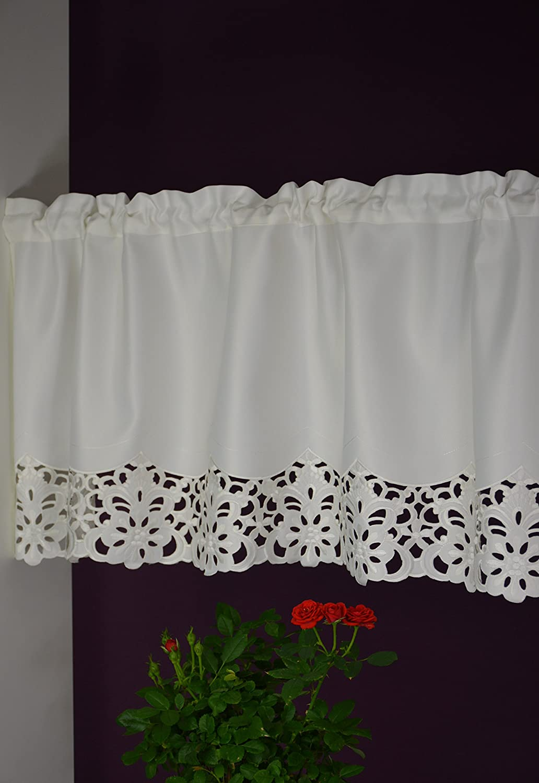 con barras aspecto de seda Hossner Richelieu estilo r/ústico corto Visillo de encaje para bistr/ó 45//110 cm color crudo
