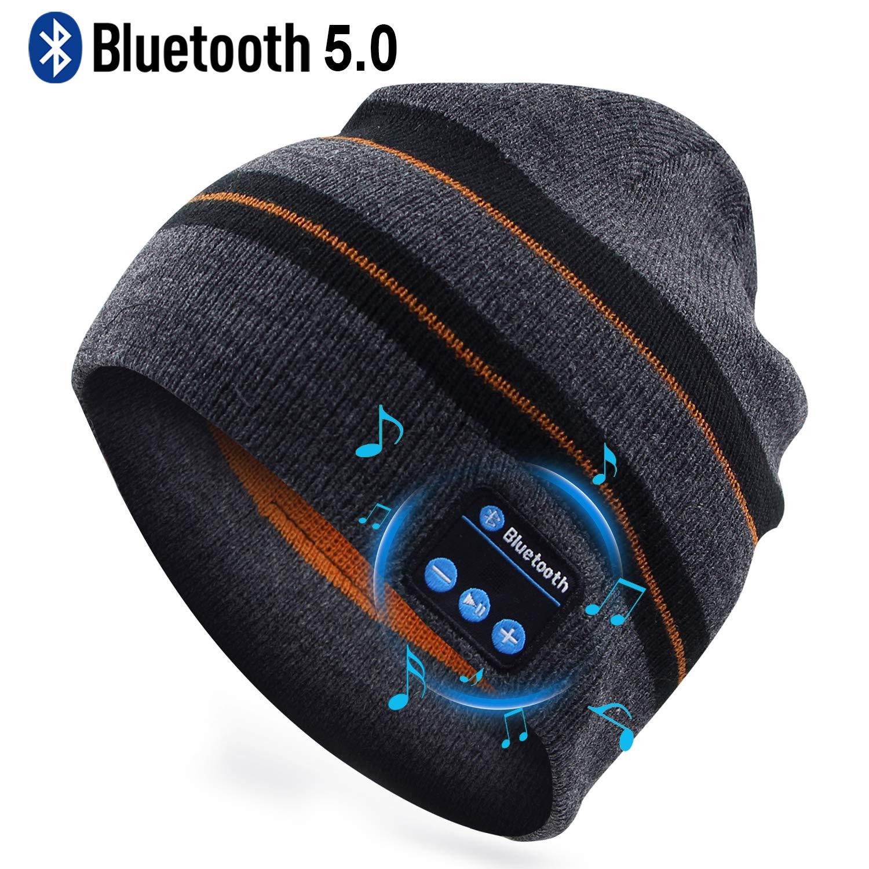Puersit Bluetooth Beanie Wireless Headphone Hat Music Soft Hat with Stereo Speakers,Winter Knit Hat Wireless Mic Hands-Free for Men Women Sports Fitness Travel Birthday Xmas Gift Black Stripe