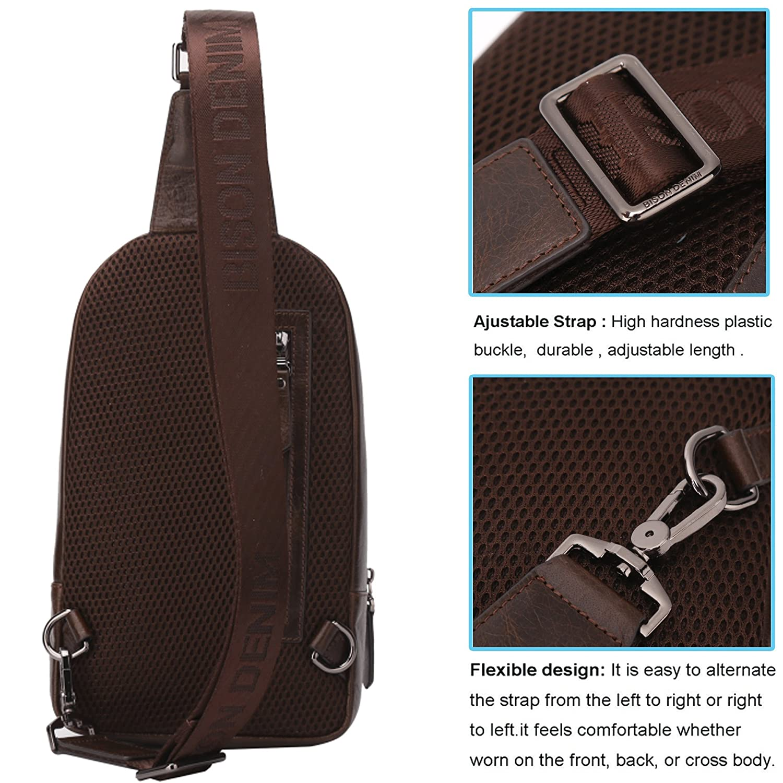 BISON DENIMMen's Unbalance Chest Pack Multipurpose Backpack Crossbody  Shoulder Bag: Amazon.co.uk: Luggage