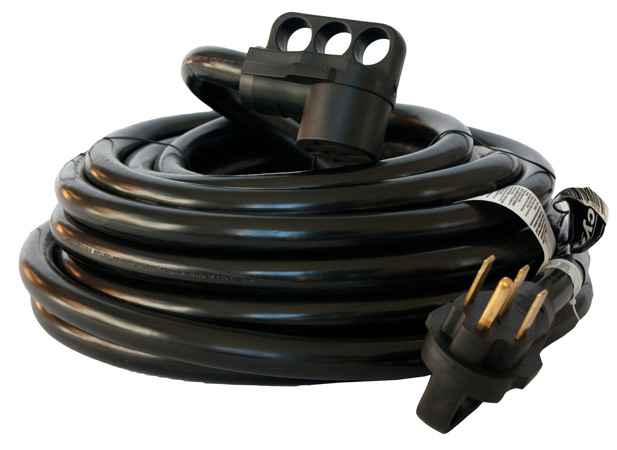 50 Amp Cynder 02016 RV Camper Electrical Extension Cord 50' ft with Handle (50 Feet, Black) by Cynder (Image #3)