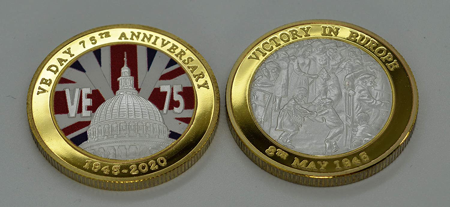 VE 75th Anniversary. VE-DAY Victory in Europe /'Dual Metal/' Silver and 24ct Gold Commemorative Coin in PresentationDisplay FrameCase