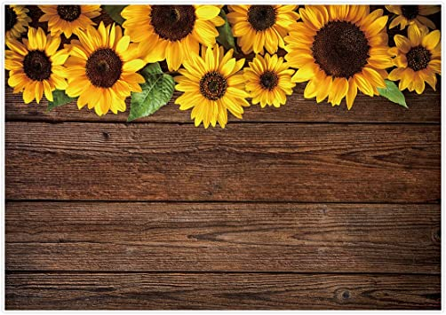 Sunflower Rustic Wood Texture Backdrop Baby Shower Birthday Party Background Photography Studio Photo Booth Decoration