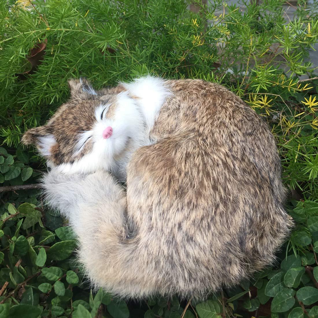 2 x Lifelike Cats Figurine Fur Realistic Furry Animal Tabby Kid Christmas Gift