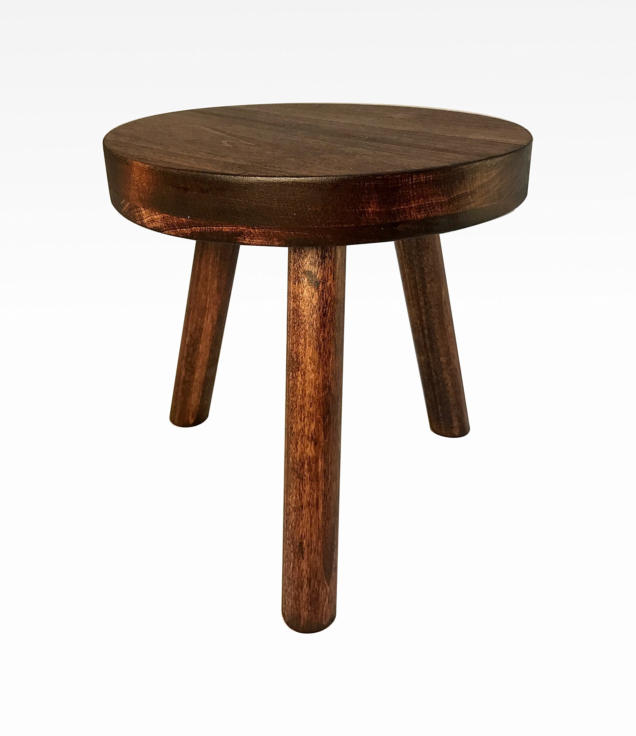 Small Wood Three Legged Stool, Modern Plant Stand, Choose Finish by Candlewood Furniture, Wooden, Tea Table, Kids Chair, Decorative