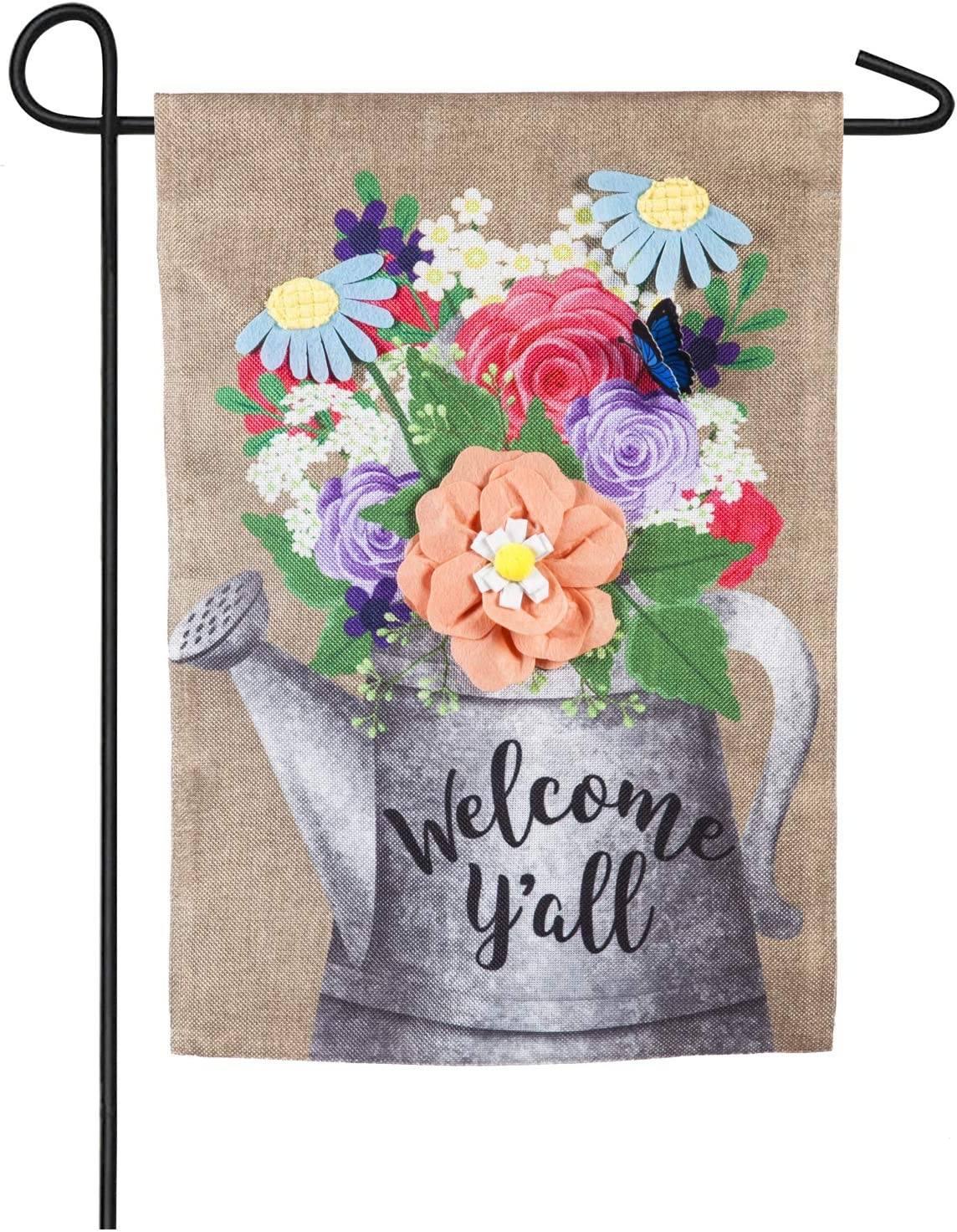 Welcome Y'all Watering Can Garden Burlap Flag - 13 x 1 x 18 Inches
