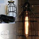 Industrial Vintage Style Metal Wire Curved Cage Pendant Ceiling Lamp Light Fixture Set with 15' Toggle Switch Black Plug-in Cord and Edison Style Tube Bulb