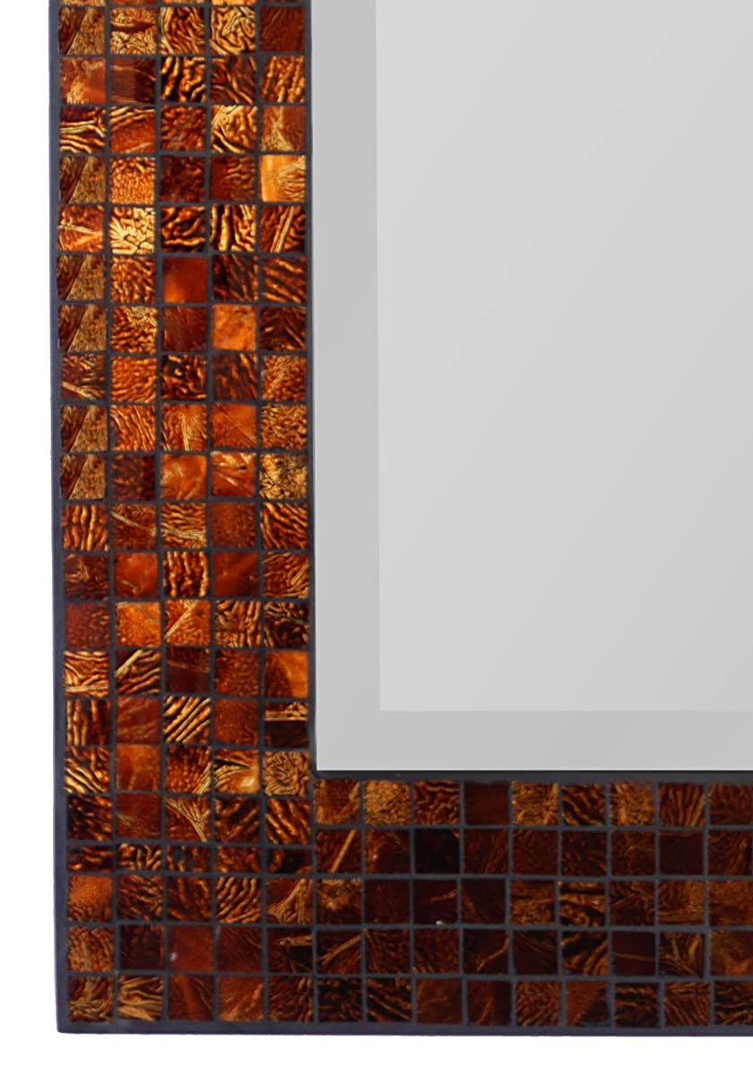 "LuLu Decor, Decorative Handmade Amber Rectangle Mosaic Beveled Wall Mirror, Frame Measures 31"" x 23.5"", Beveled Mirror Measures 24"" x 15.5"" Perfect for Housewarming Gift. (LP307)"